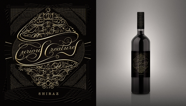 typography wine label design