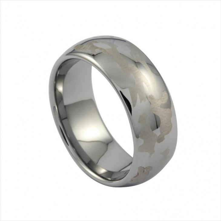 silver camo wedding ring