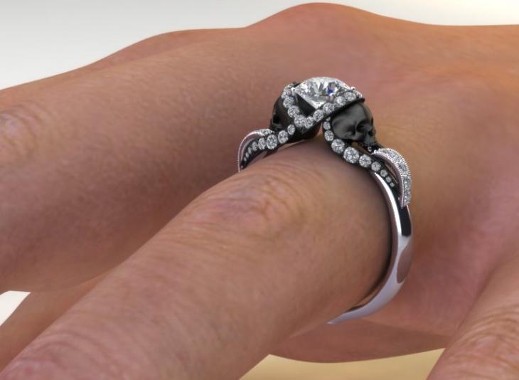 skull diamond wedding ring