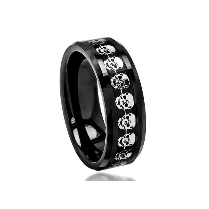 skull wedding band ring