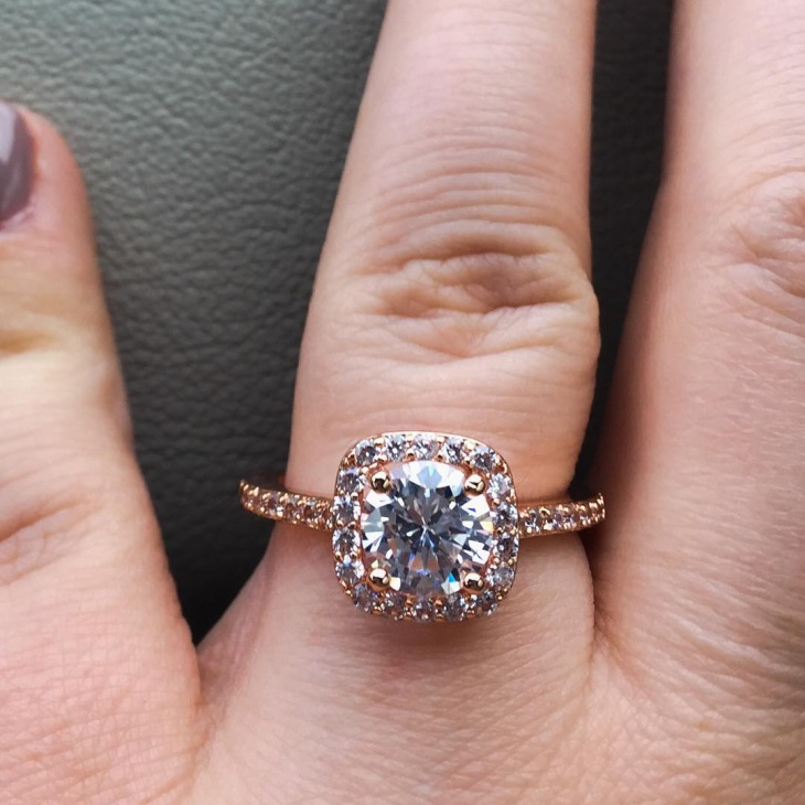 Rose Gold Halo Wedding Ring