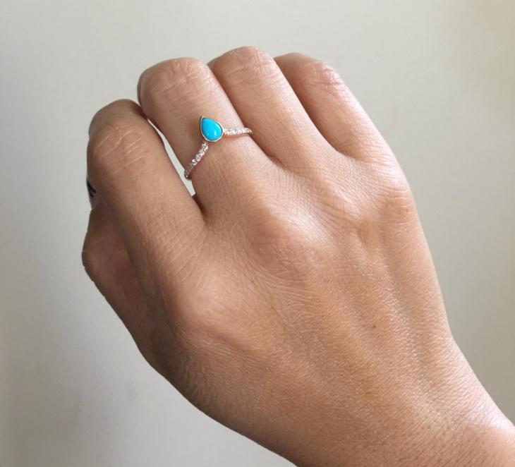 turquoise diamond wedding ring
