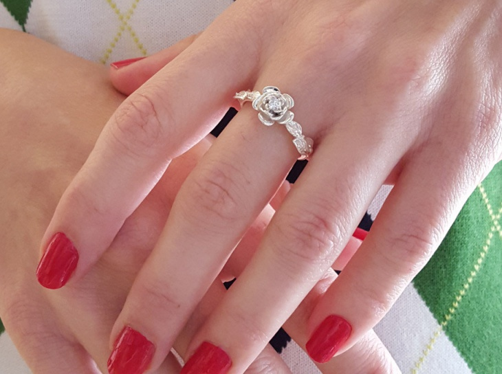 rose flower wedding ring