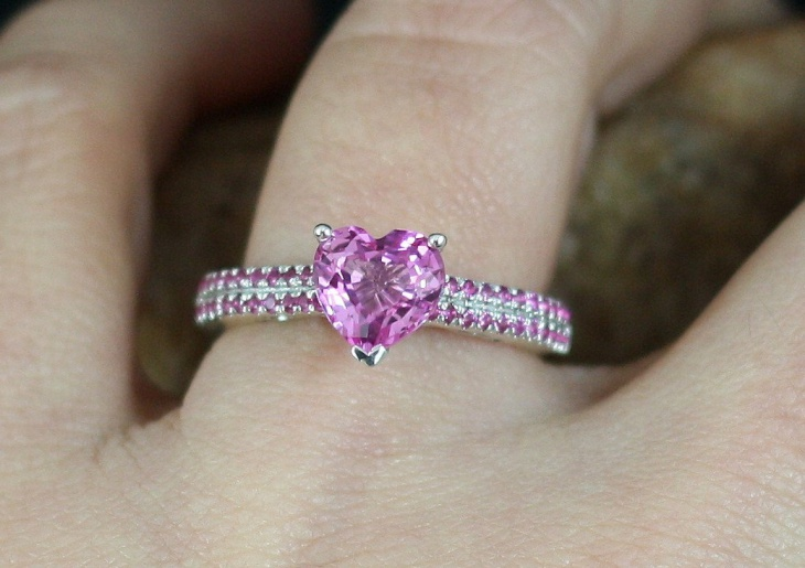 Pink Heart Wedding Ring