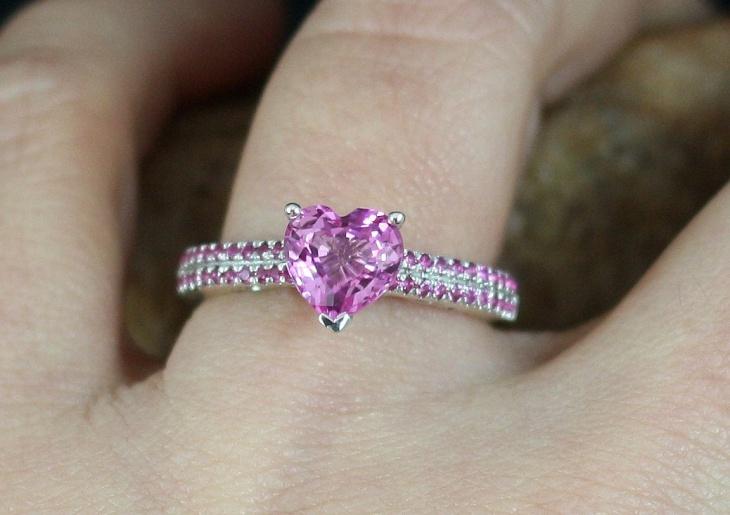 pink heart wedding ring