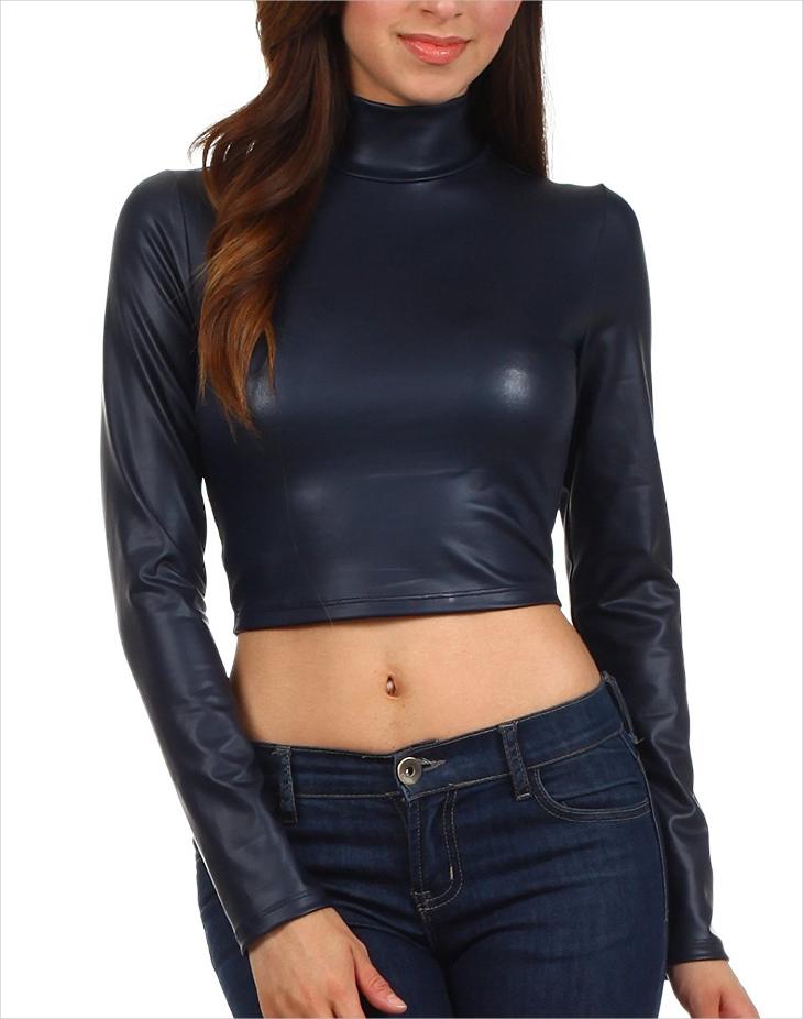 Designer Leather Crop Top