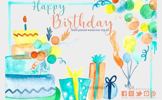 Birthday Watercolor Clipart