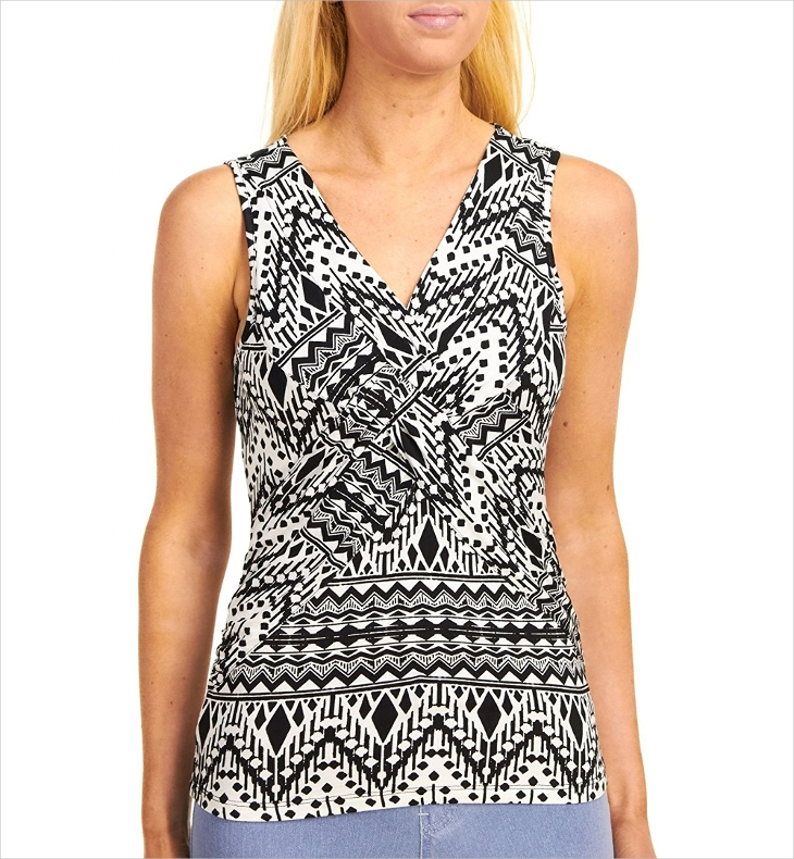 Black and White Tribal Top