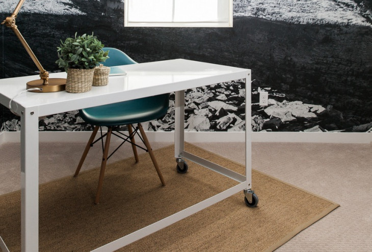 white rolling desk design