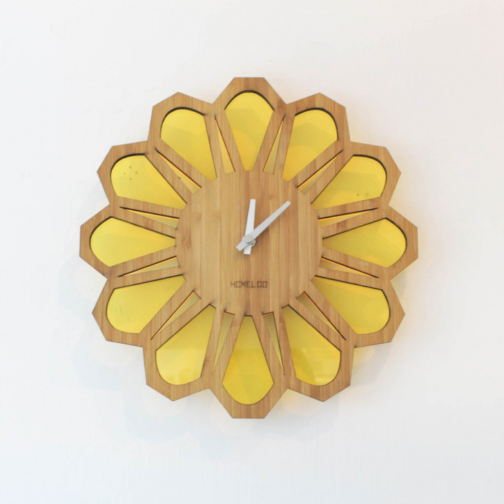 wooden sunburst wall clock design