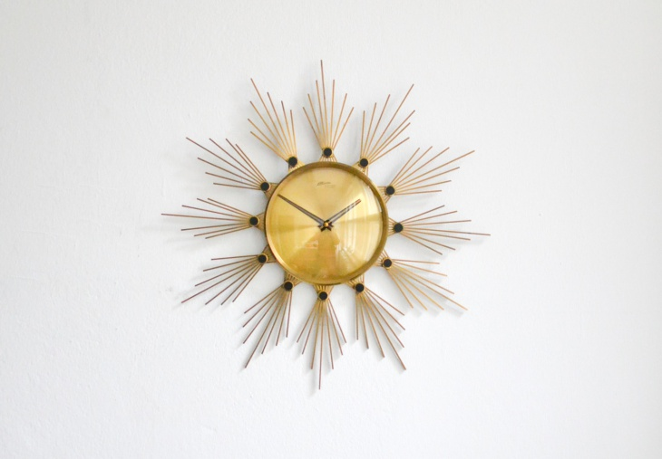 brass sunburst wall clock idea