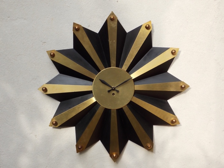 large sunburst wall clock