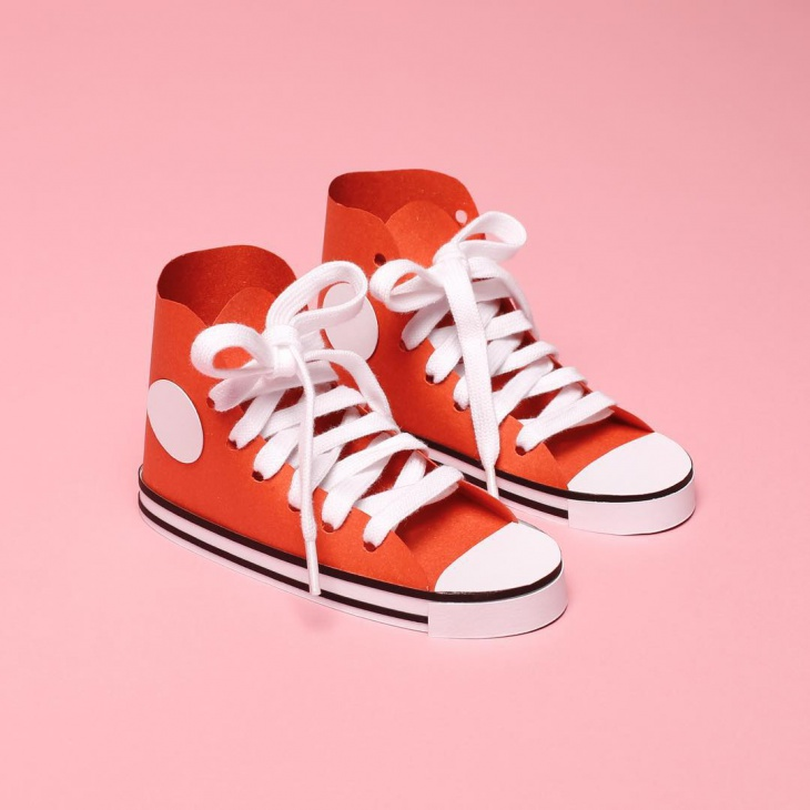 Orange Color Paper Craft Shoes