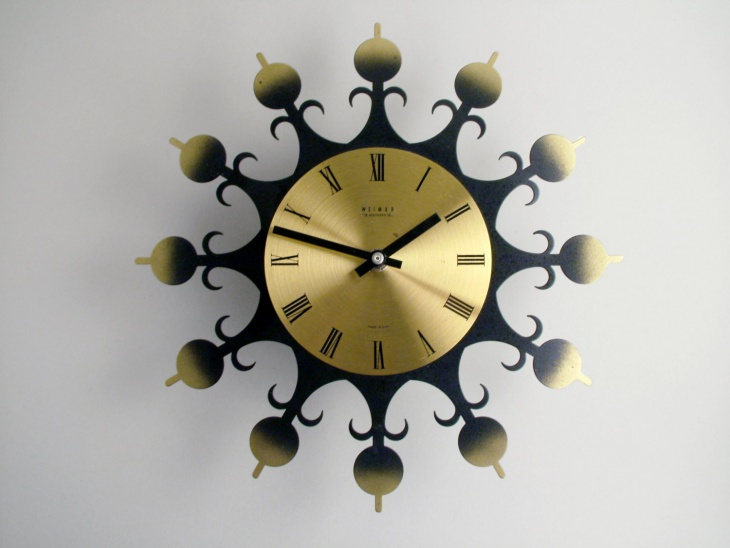 modern sunburst wall clock