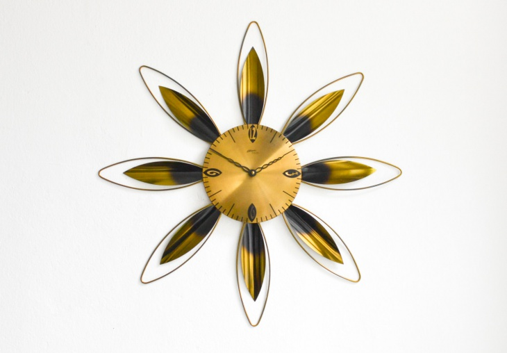 contemporary sunburst wall clock