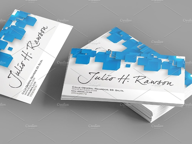 Abstract Blue Square Business Card