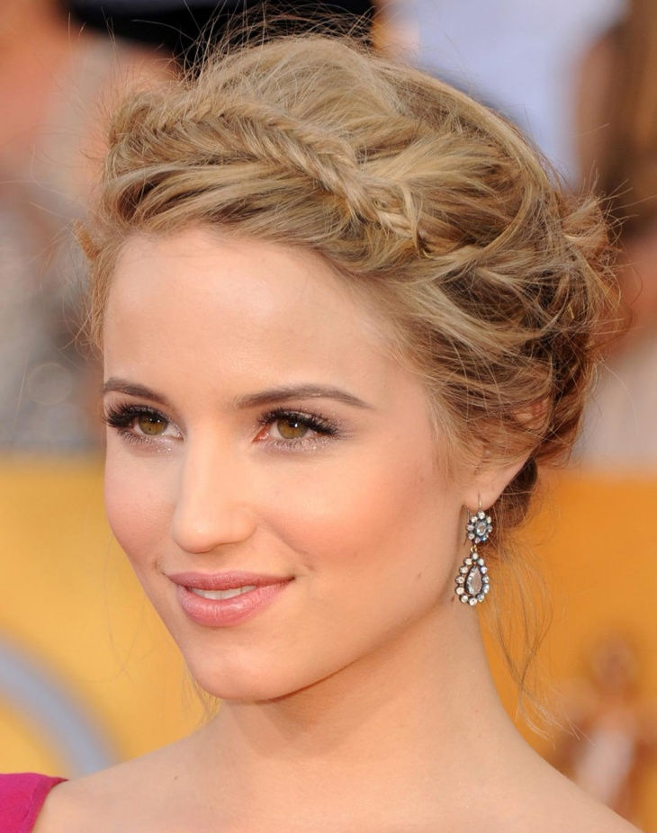 Dianna Agron Updo Braided Hairstyle for Prom