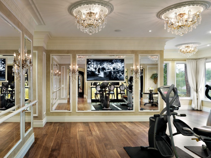 traditional home gym chandelier design