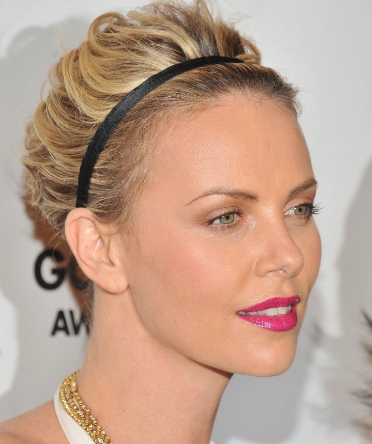 Charlize Theron Short Layered Prom Hairstyle