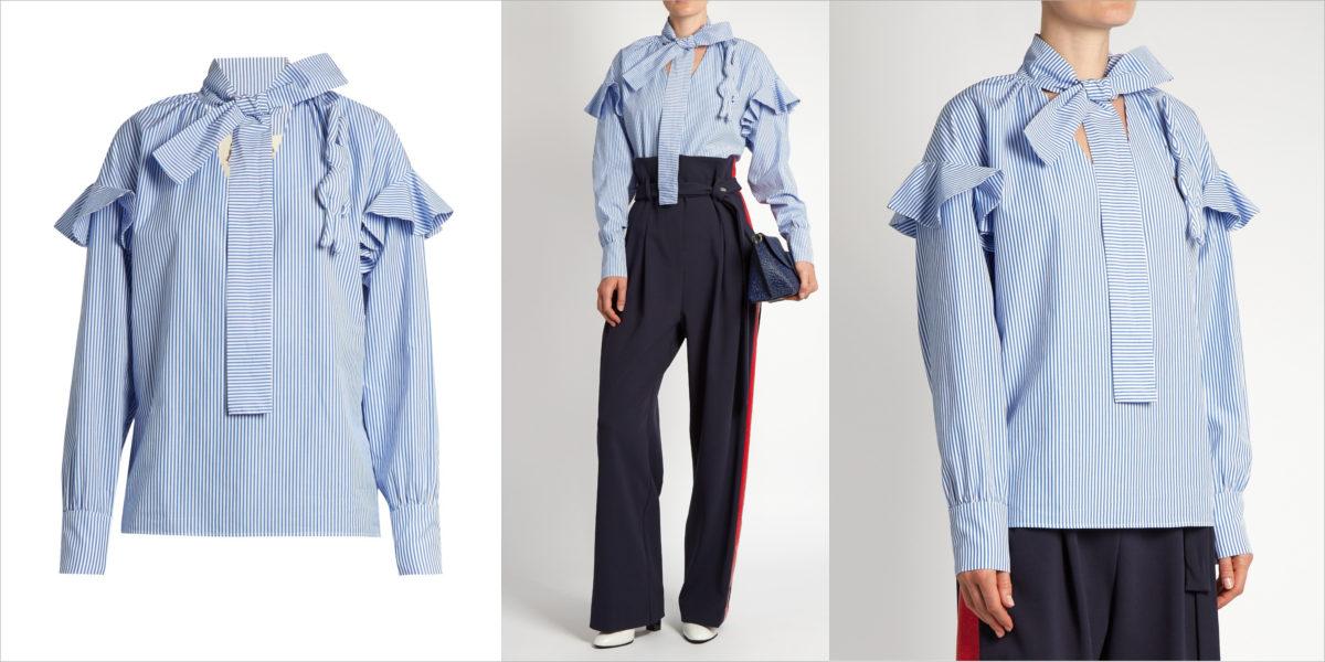 a-w-a-k-e-ruffled-striped-cotton-blouse