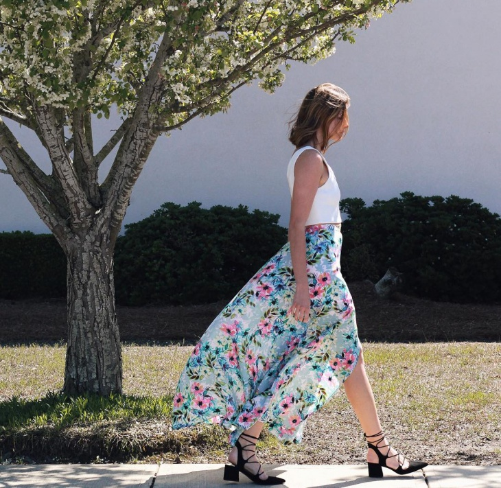 High Waisted Floral Maxi Skirt