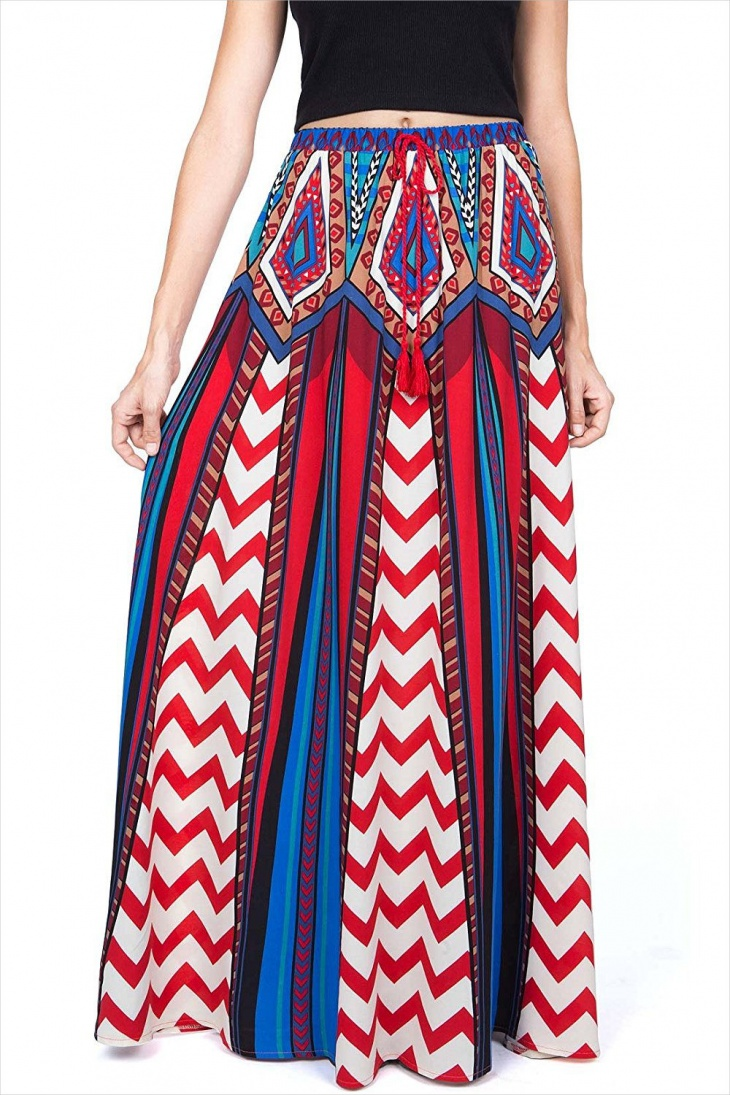 Red Chevron Maxi Skirt