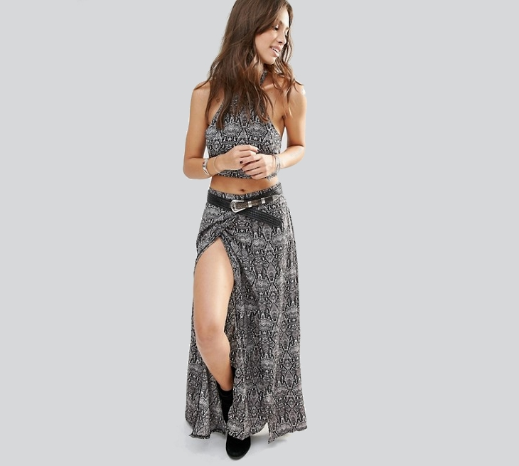 wrap front maxi skirt