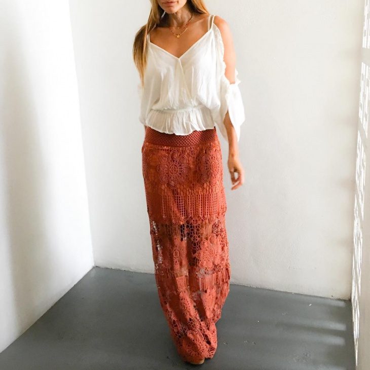 Crochet Semi Maxi Skirt