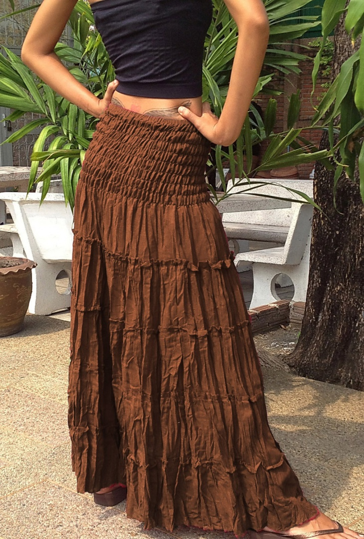 Brown Tiered Maxi Skirt