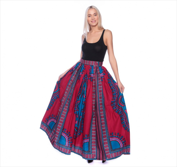 Red Tribal maxi Skirt