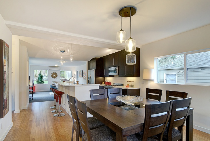 open plan kitchen dining room