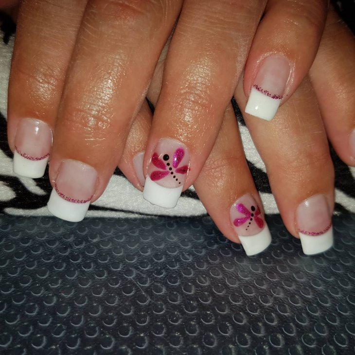 beautiful dragonfly french nails