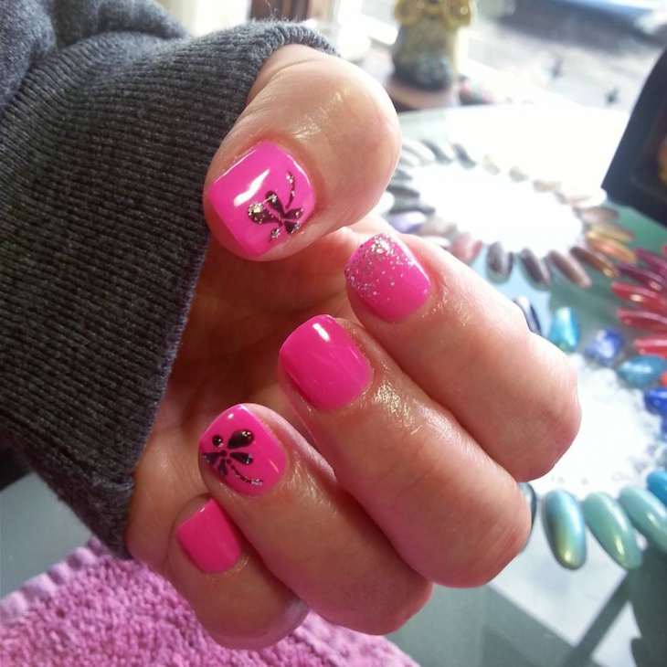 Pink and Black Dragonfly Nails