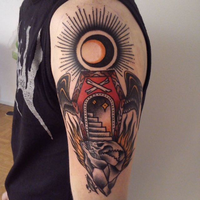 sun with coffin tattoo idea