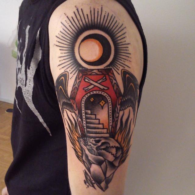 Sun with Coffin Tattoo Idea