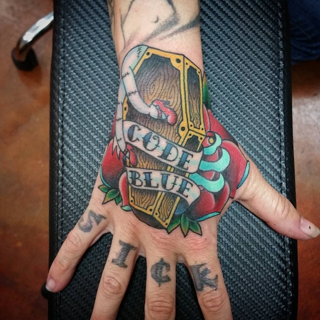 colorful coffin tattoo