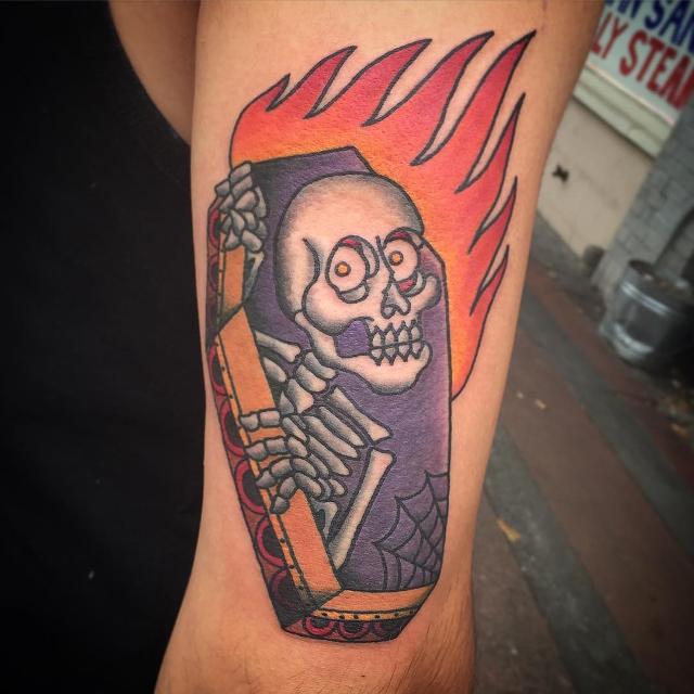 Fire Coffin Tattoo Design