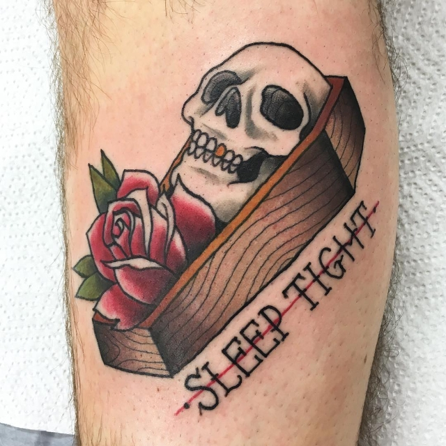 Skull with Rose Tattoo Design