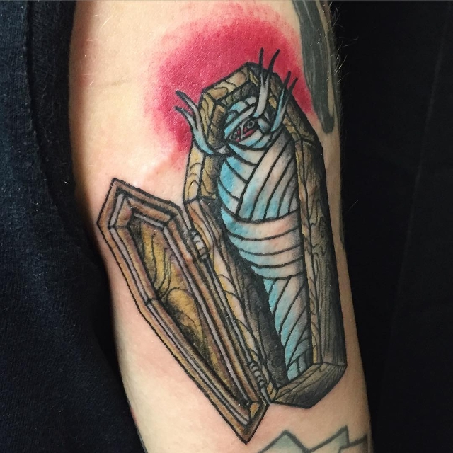 scary coffin tattoo idea