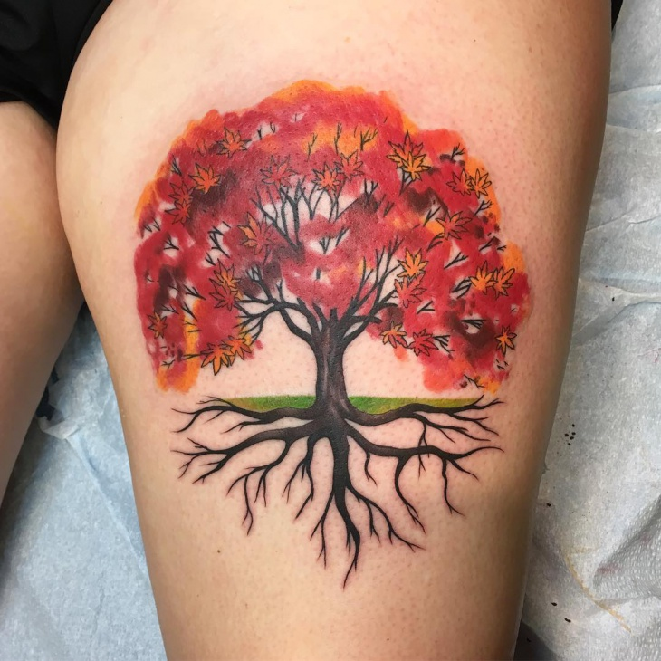 watercolor red tree tattoo