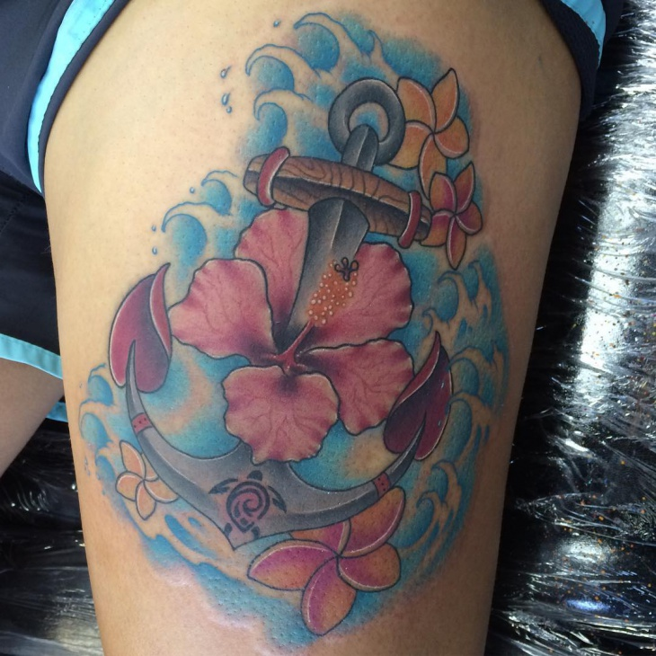 anchor watercoclor hibiscus tattoo