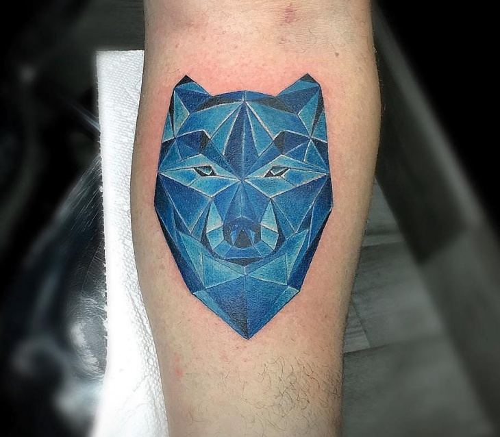 geometric wolf watercolor tattoo