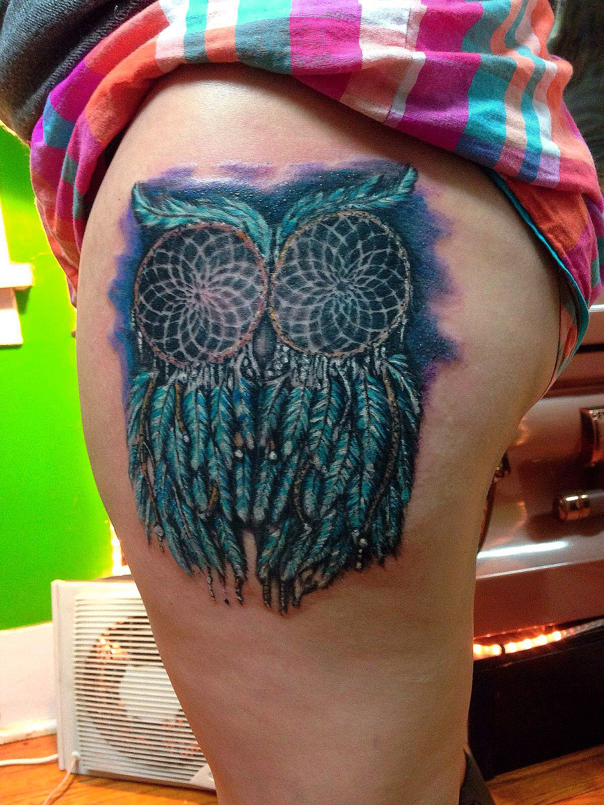 watercolor dreamcatcher owl tattoo