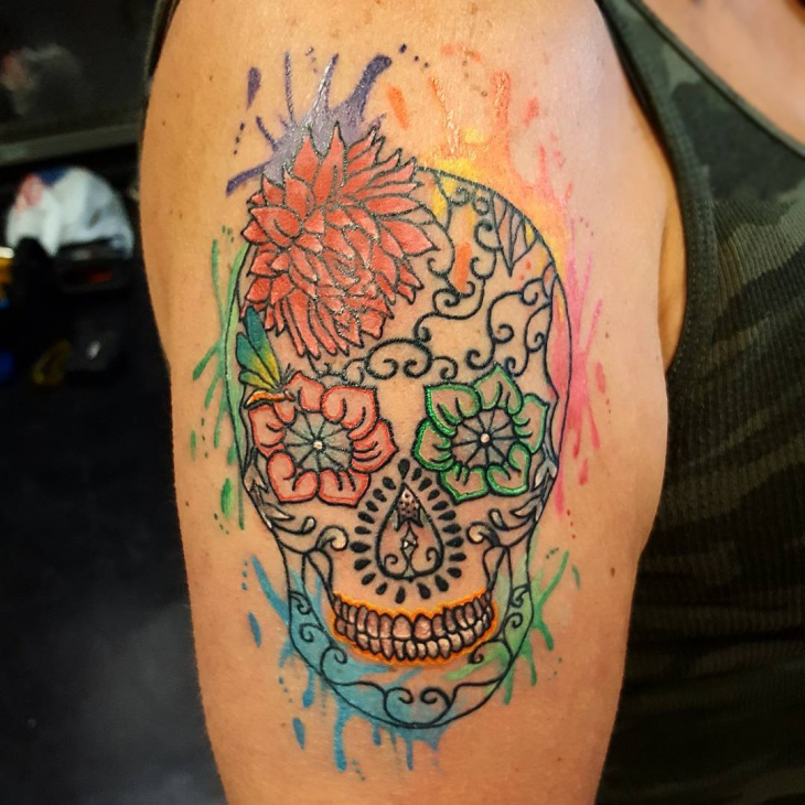 watercolor sugar skull tattoo