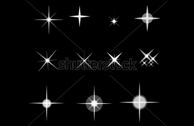 black and white star clipart