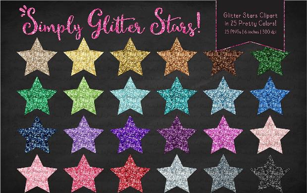 Glitter Rainbow Stars Clipart