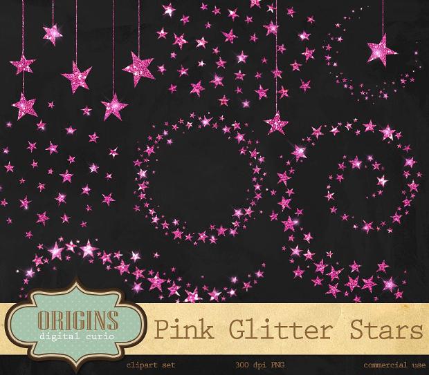 Pink Glittering Star Clipart