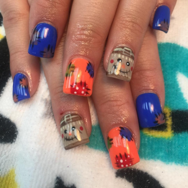 thanksgiving acrylic crow nails