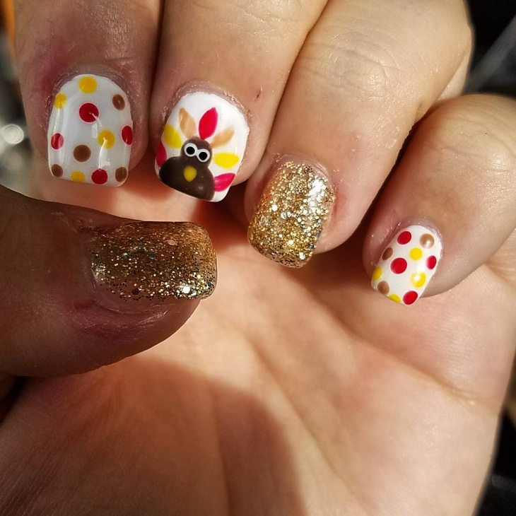 thanksgiving polk dot gel nails