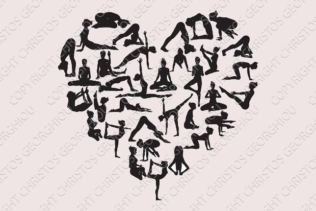 yoga heart silhouette